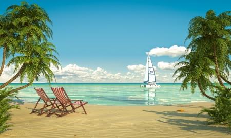 prázdniny: Čelní pohled na karibské pláži s lehátky a lodí Reklamní fotografie