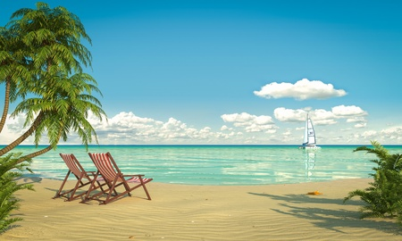 frontal view: Frontal view of a caribbean beach with deck chairs and boat