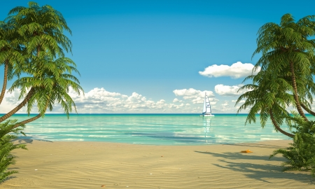 frontal view: Frontal view of a caribbean beach with boat Stock Photo