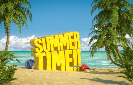 Big yellow summer time text in the sand of a tropical beach Stock Photo - 21698691