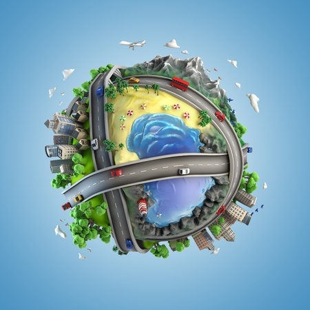 concept globe showing diversity and transport in the world in a cartoony style photo