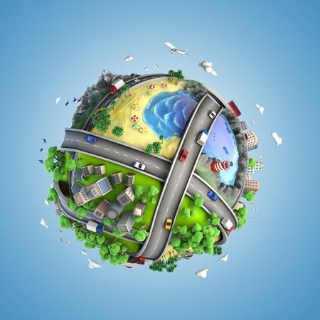 transporte: Conceito do globo que mostra a diversidade, os transportes ea energia verde em um estilo cartunesco