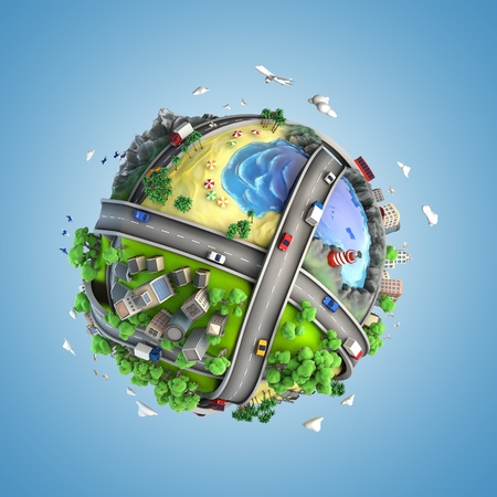 miniatures: concept globe showing diversity, transport and green energy  in a cartoony style
