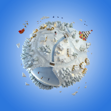 Concept globe showing a winter christmas planet with santa claus and tree clipping path included photo