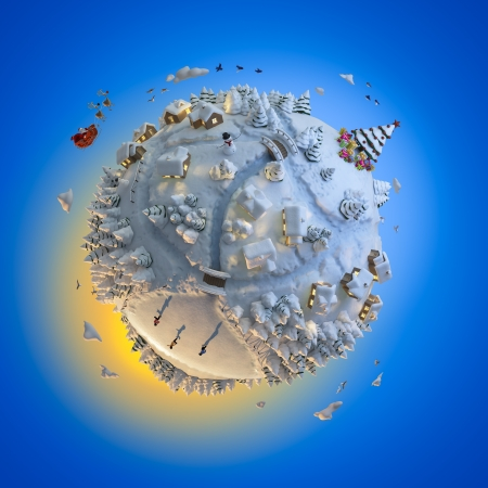 felicitation: Concept globe showing a winter christmas planet with santa claus clipping path included Stock Photo