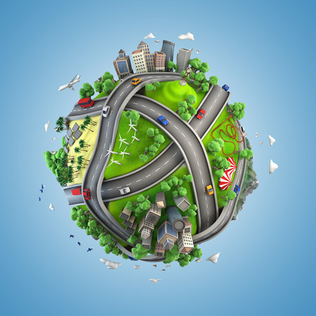 cartoony: concept globe showing diversity, transport and green energy  in a cartoony style
