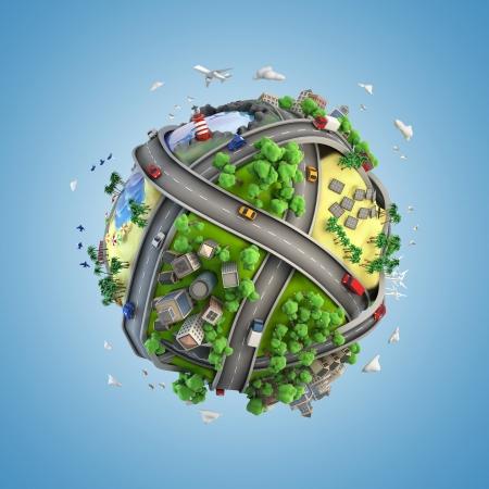 Konzept Globus zeigt Vielfalt, Verkehr und grüne Energie in einem Cartoon-Stil Standard-Bild - 24547383