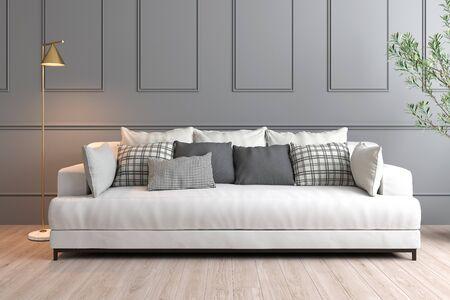 Representación 3D de diseño de interiores con pared gris, sofá blanco y lámpara dorada