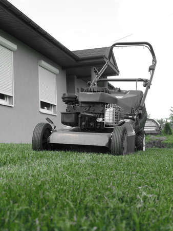 Lawn mower green Stock Photo