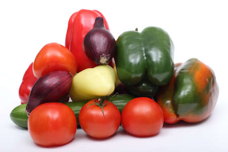 Tomatoes and other vegetables on a white background 2