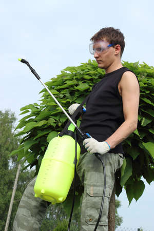 spraying: Working in the garden, preparing