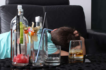 Alcoholik sleepy  Stock Photo - 14540860