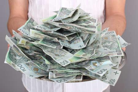Money on tray 1 Stock Photo