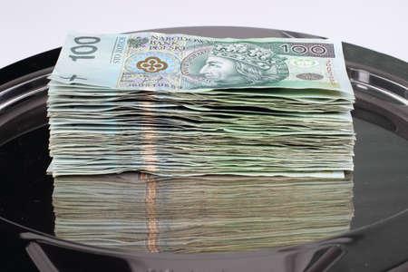 Dinero en bandeja Foto de archivo
