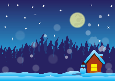 snowscape: christmas night with family in the forest