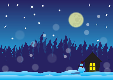 snowscape: Christmas night and snow field Illustration