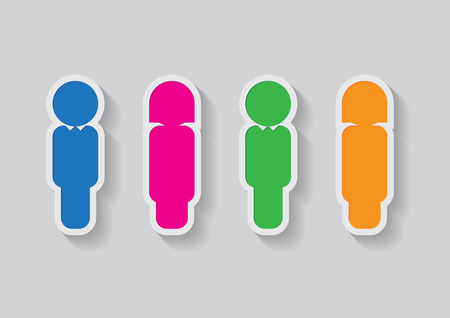 female sign: male and female sign in colored (blue, pink, green, orange) Illustration