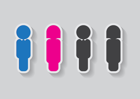 female sign: male and female sign in dark grey and colored Illustration