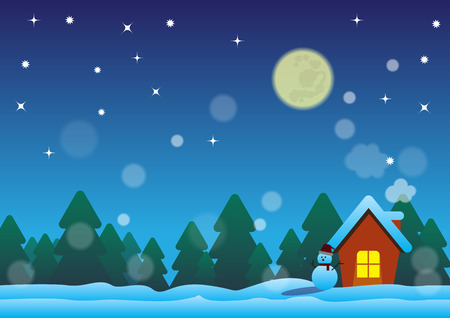 snowscape: christmas night in the happy home Illustration