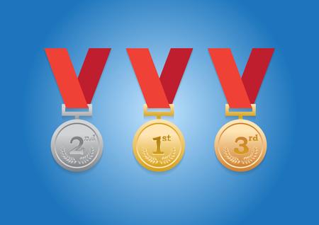 silver medal: First 3 Trophy laurel wreath medal. (Gold, Silver, Bronze) Illustration