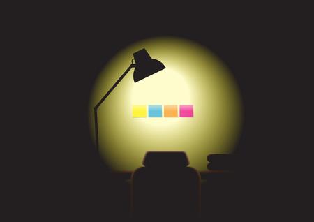 night table: Working night - Lighting lamp open, nobody, office environment Illustration