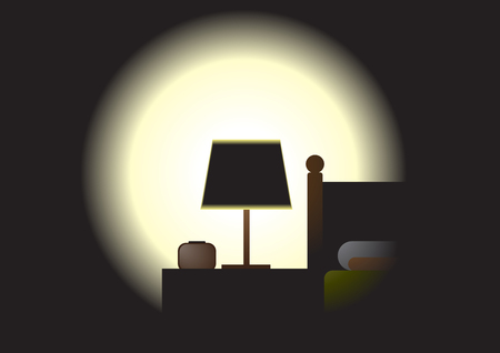 show time: Night time bed - The light from the lamp show some part of bed detail.