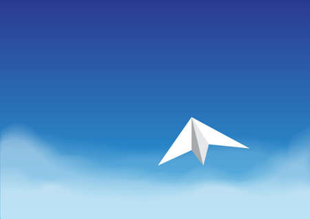 away travel: Paper plane flying on the bright blue sky over the cloud