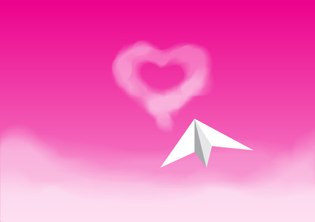 pink sky: Paper plane flying on the pink sky over the cloud direct to the heart shape cloud Illustration