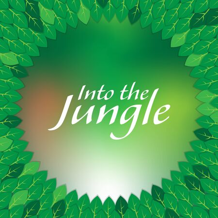 leave: Into the jungle green leave wheel frame Illustration