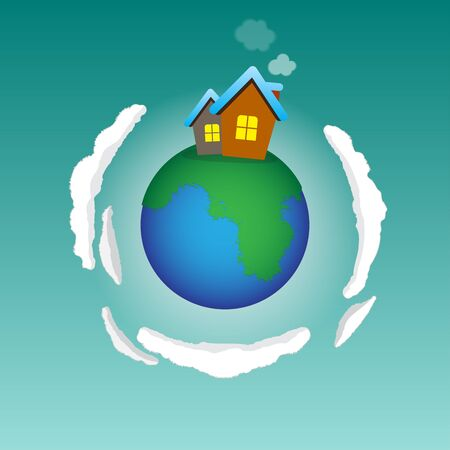 green little planet earth: Home planet - house standing on the small world Illustration