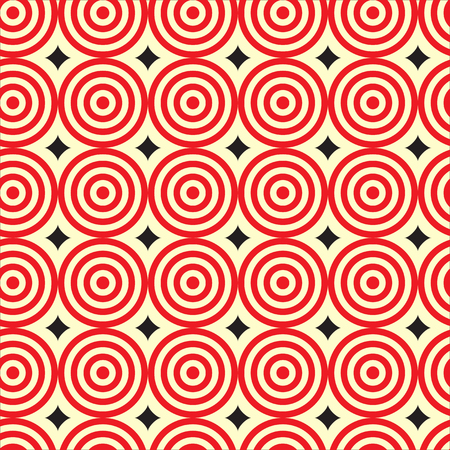 ripple: Red ripple circle with black diamond shape Seamless Pattern