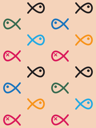 swiming: Seamless pattern colored swiming fish line drawing like on light orange background Illustration