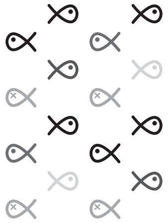 swiming: Seamless pattern greyscale swiming fish line drawing like on white background