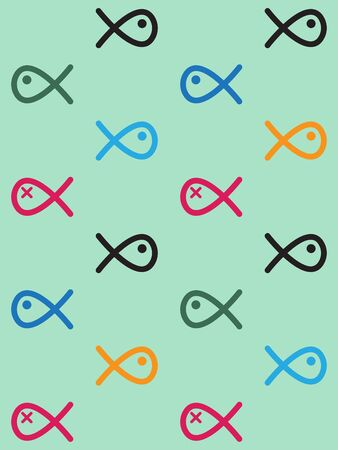 swiming: Seamless pattern colored swiming fish line drawing like on light green background Illustration