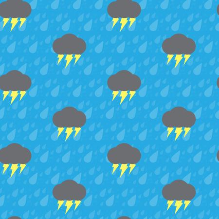 thunderbolt: Seamless thunderbolt and raindrop on blue background