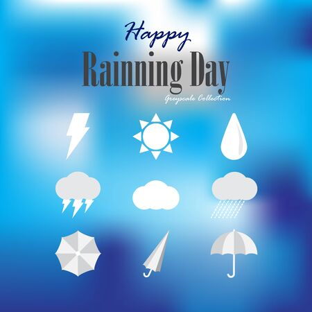 greyscale: Happy rainning day - welcome to rainningspring seasons iconssymbols greyscale collection
