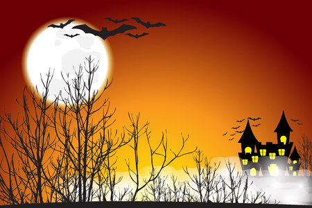Landscape of scary castle behind dry tree forest which fully with bat around in full moon night - happy halloween Illustration