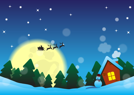 Christmas night near the forest of pine tree with a house with snowman vector illustration.