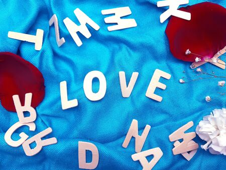 A word of LOVE arrange on blue wrinkled fabric with another alphabets and rose lobes and carnation decorated