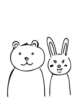 Polar bear and rabbit kids drawing style  Illustration