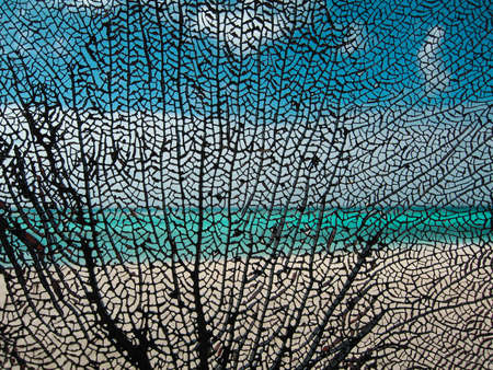 branching coral: Black coral as a pattern on the exotic background with sea, sky, and sand Stock Photo