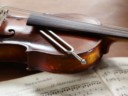 tuning fork: Violin, musical notes and tuning fork lying on violin Stock Photo