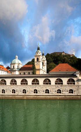 Ljubljanica River, Plecnik Market, Cathedral and Ljubljana Castle