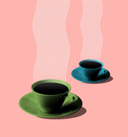 fifties: Illustration of green and blue coffee cups retro or vintage fifties style on peach background