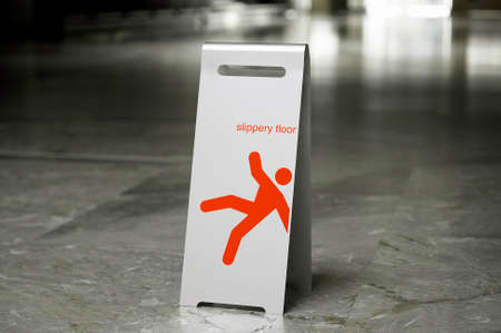 free standing: Metal free standing sign slippery floor on a marble floor