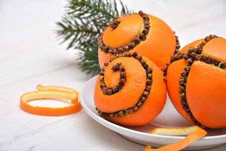 Christmas decoration - oranges with cloves
