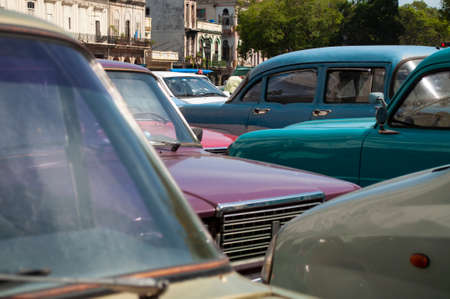 Old cars parked in the city