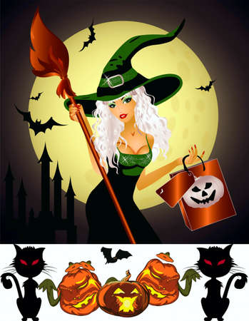 Hallowmas, witch with a broom and bag, bats, black cats, Lunar, towers, pumpkin-lantern Stock Vector - 15681950