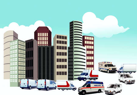 A vector illustration of special cars; first-aid, minibus, city
