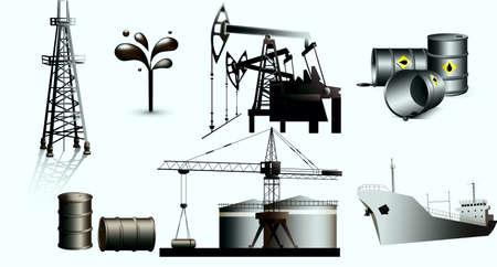Gusher, oil-derrick, oil setting, barrels, tanker, oil tanks